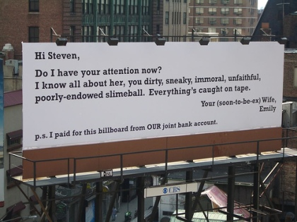funny breakup billboard message