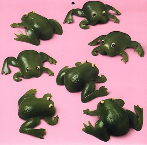 frogs green pepers vegetable art