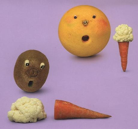 grape fruite carrot ice cream vegetable art