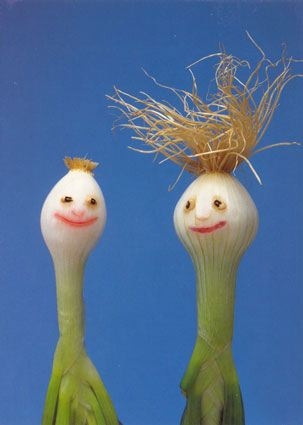 onion heads vegan art