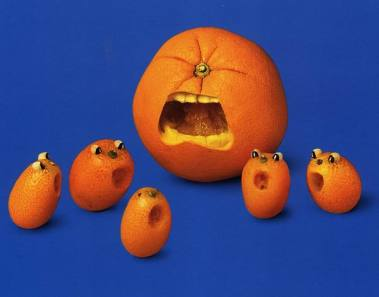 orange screaming vegan sculptures art